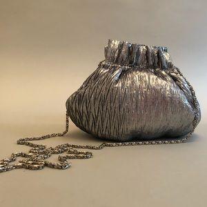 Handbags - Silver Vintage Evening Bag w/Long Silver Chain